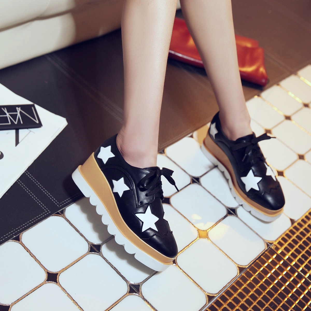 Preppy Fashion Girls Wedge Heels Lace Up Oxford Womens Platform Shoes BlackJ011