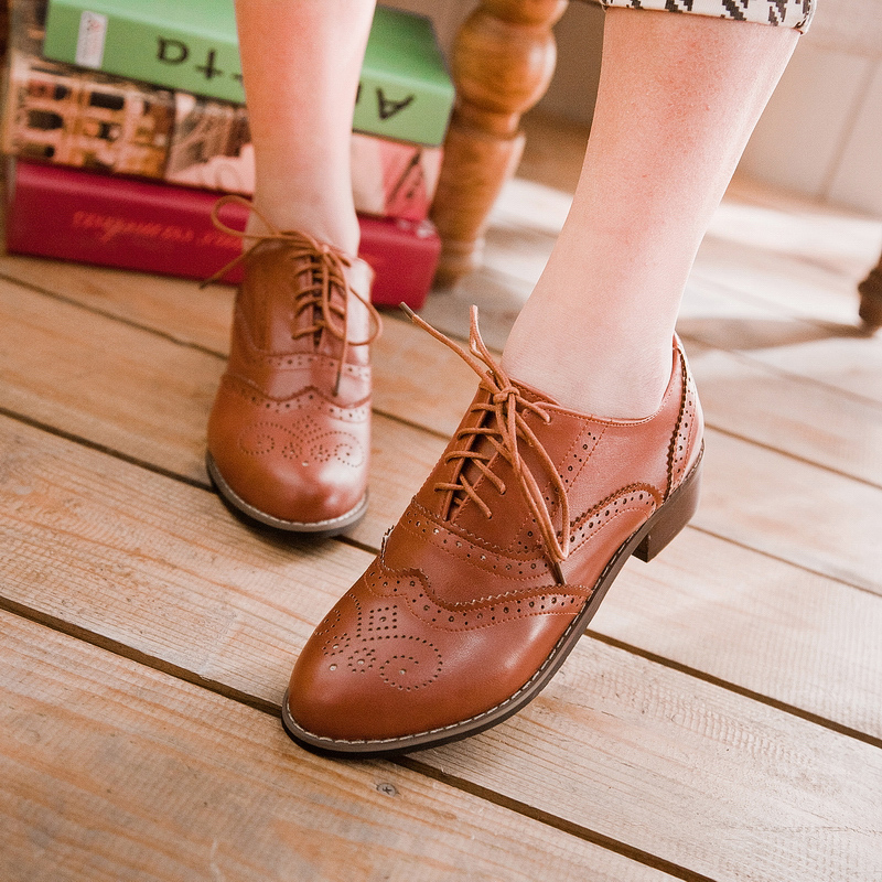 Womens girl  round toe  block low heel lace up preppy oxford shoes size