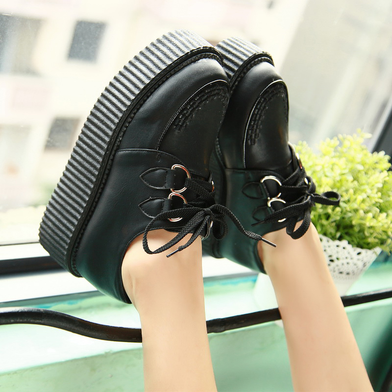 HOT Womens Shoes PU Leather Oxfords Lace Up High Platforms Flat Creeper Sneakers