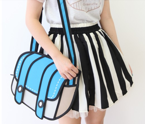 3D Blue Cartoon Handbag Shoulder Bag
