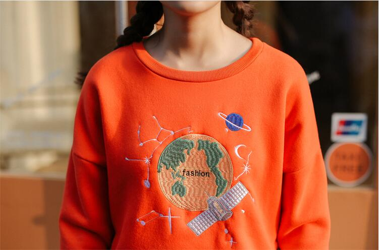 Free shipping planet embroidery hoodie sweater #415