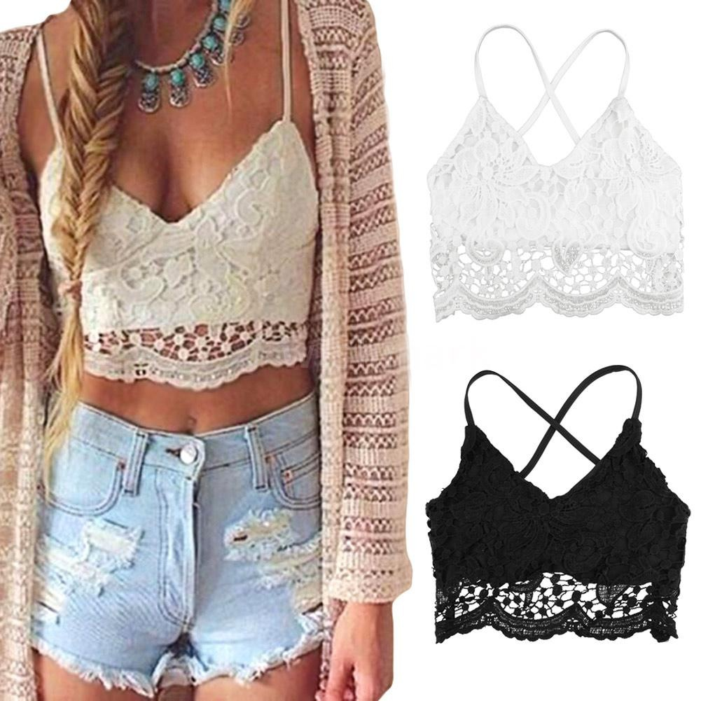 2859cc8c59 New Sexy Women Crop Top Crochet Lace Deep V Neck Spaghetti Strap Backless Tank  Camisole Bralette Black/White