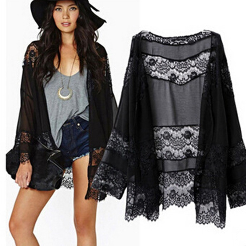 Women Summer Beach Kimono Cape Coat Loose Lace Long Sleeve Chiffon ...