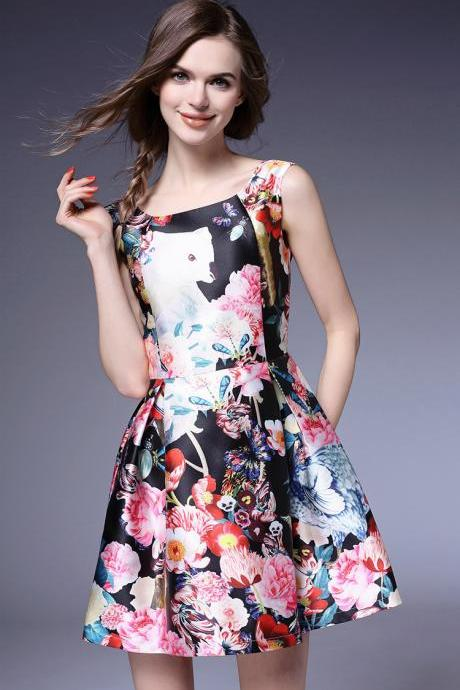 2016 summer fresh printing princess dress