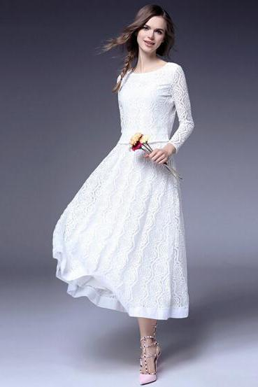 Elegance openwork crochet lace dress
