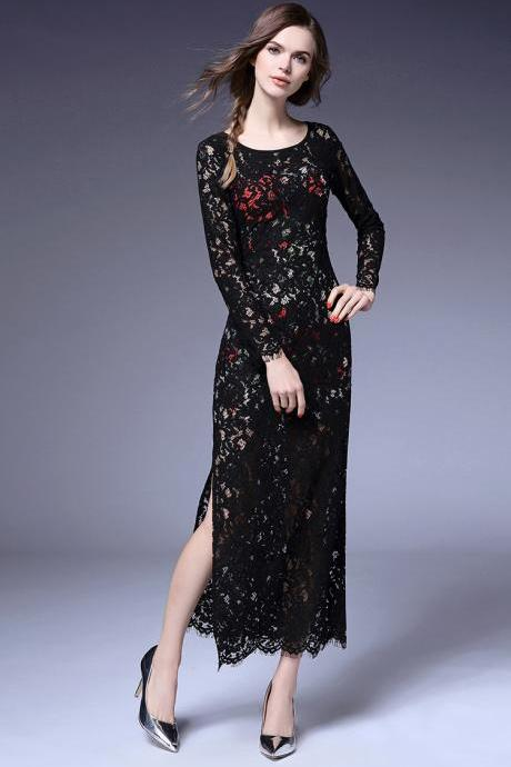 Fashion sexy perspective lace dress Slim dress