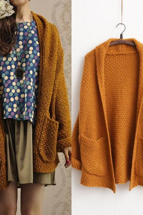 Cute Pockets Solid Cardigan