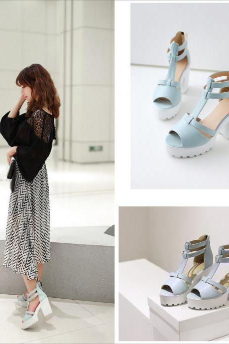 2016 Platform Sandals High heel ankle wrap shoes new women Fashion PU casual summer sandals size 34-43