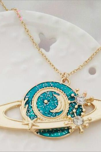 Free shipping universe planet Saturn moon necklace #393