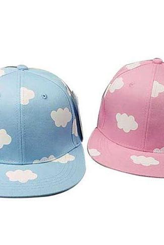 ladies pink and blue clouds print summer casual canvas baseball hip hop caps hats #74-YL18