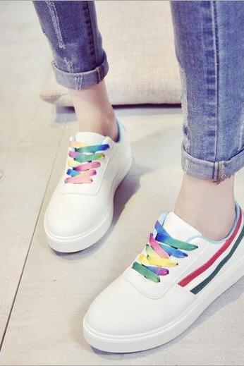Double Striped Sport Shoes , Sneakers with Multi-Coloured Laces