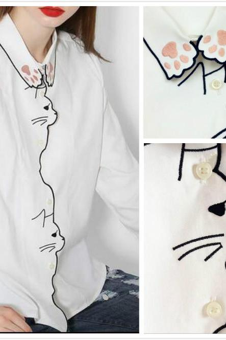 White Cat Embroidered Button-down Long-sleeved Shirt