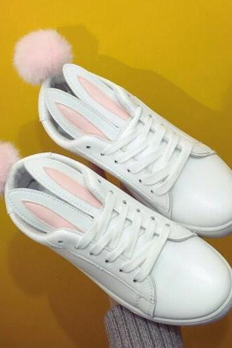 Bunny Ears Leather Sneakers Featuring Pom Poms