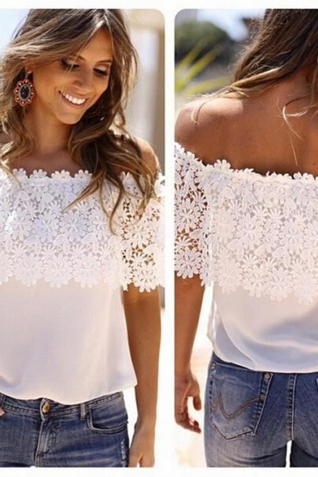 Hot Sale Women's Off Shoulder Lace T-shirt Summer Casual White Blouse
