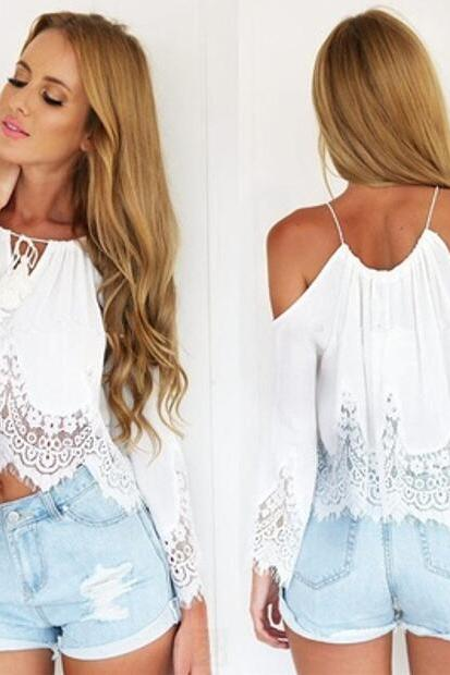 Women Fashion Summer Black/White Off Shoulder Lace Loose Top Beautiful Long Sleeve High Low Spaghetti Strap Blouse