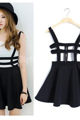 Women's Suspender Strap Skater Dress Braces Hollow Out Pleated Mini Skirts