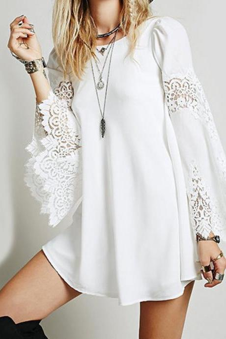 Summer Women Plus Size Long Sleeve With Hollow Lace Dress