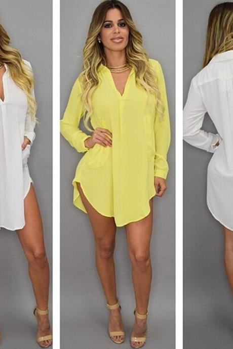 Women's Fashion Sexy Deep V-Neck Casual Loose Long Sleeve Pocket Long Shirt