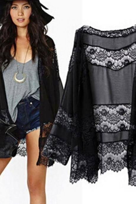 Women Summer Beach Kimono Cape Coat Loose Lace Long Sleeve Chiffon Cardigan