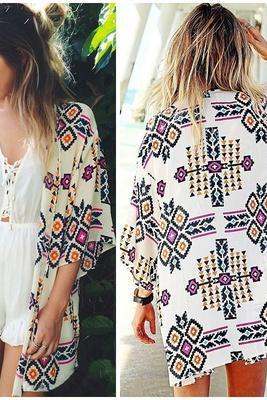Women Geometry Printed Chiffon Shawl Kimono Cardigan Tops Cover Up Blouse