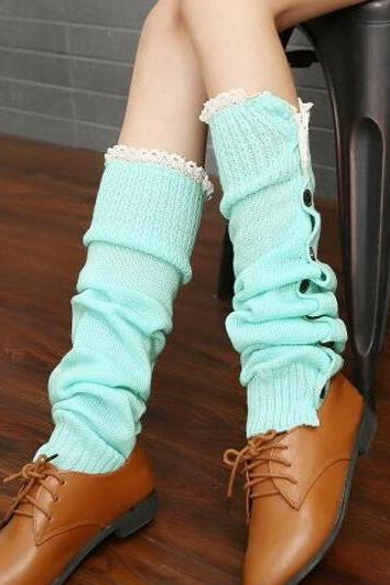 Winter Legging Socks Women Stockings Leg Warmers Knitted Boot Cover Hosiery