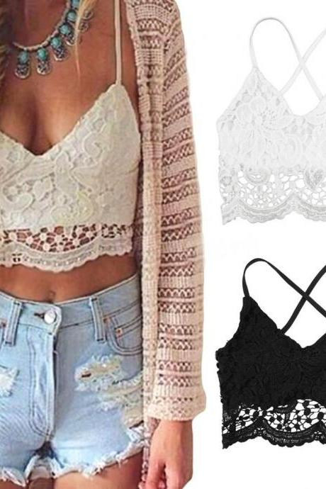 New Sexy Women Crop Top Crochet Lace Deep V Neck Spaghetti Strap Backless Tank Camisole Bralette