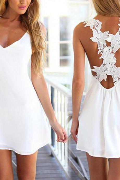 spring and summer hot style white Backless lace sleeveless dress
