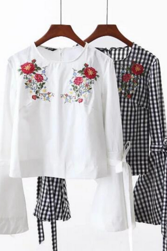 Floral Embroidered Flared Sleeve Blouse Featuring Bow Accent