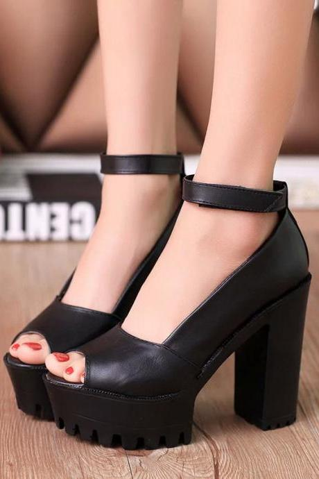 Buckle Thick Waterproof Platform High Heels Ladies' Shoes Fashion Women Rome Fish Mouth Summer Pumps Sandals
