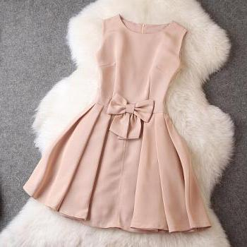 Fashion bow sleeveless dress