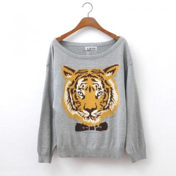 Women Long Sleeve Gray Sweater, Cardigan Featuring Tiger Design