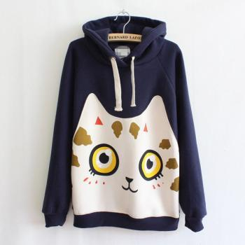 Cats printing fashion hooded sweater
