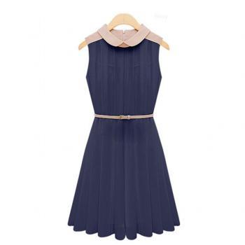 Peter Pan Collar Sleeveless Pleated Dress