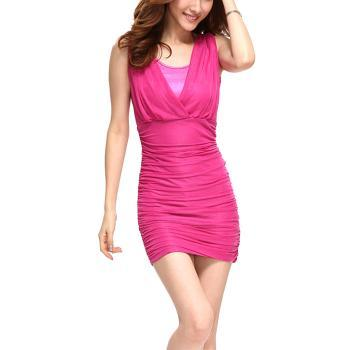 Fashion Elegant Slim Round V-Neckline Sleeve Shirred Chiffon Dress