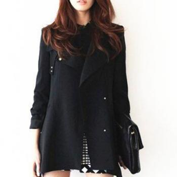 New Style Turndown Collar Long Sleeves Single-breasted Pockets Designed Black Long Wool Coat
