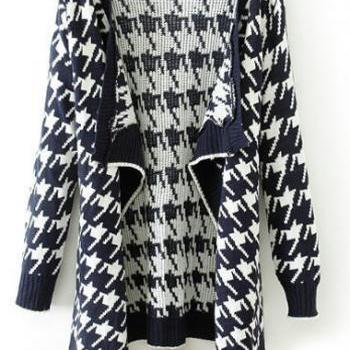 Woman Loose Long Sleeve Plaid Print Autumn Cardigans - Black