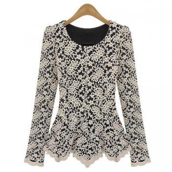 Chic Ladies Slim T Shirts Round Neck Long Sleeve Lace Shirt Spring Bottoming Shirt Cotton Tees