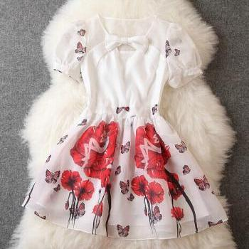 Fashion Bow Print Dress
