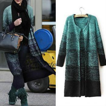 Women Autumn Winter Long Sleeve Gradient Knitting Cardigan Long Sweater Coat Outerwear