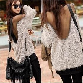 Women Winter Autumn Faux Fur Sweater Coat Outerwear