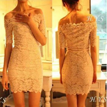 Elegant Boat Neck Short Sleeve Solid Color Lace Dress