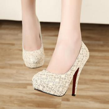 Free Shipping Sexy Gentlewomen Fashion Lace Thin High Heel Shoes For Lady - XZGG0064