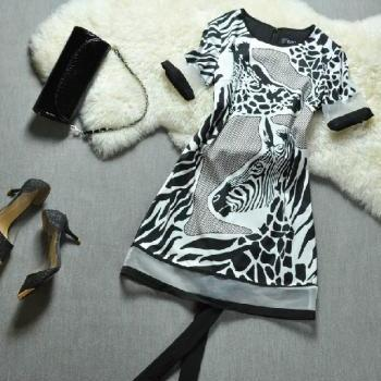 Spring Zebra Print Short-sleeved Dress