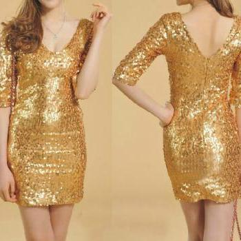 Low-Cut V -Neck Sequined Lace Dress Aeche