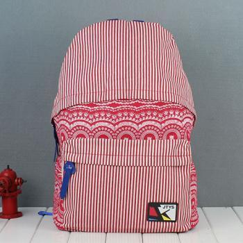 Folk Style Retro Strip Floral Print Canvas Backpack