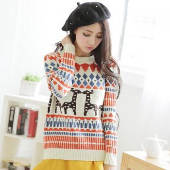 Deer Geometric Loose Sweater
