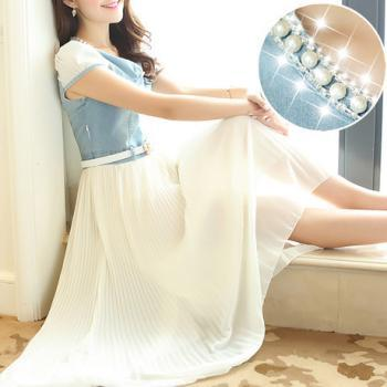 Denim Jeans Stitching Chiffon Skirt Dress