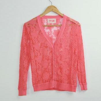 Openwork Lace Knit Cardigan