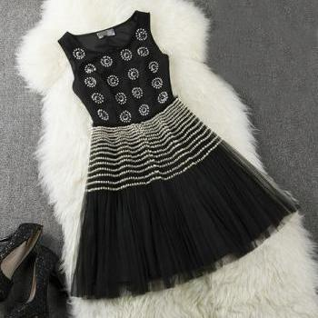 Beads Gauze Sleeveless Dress Princess Dress