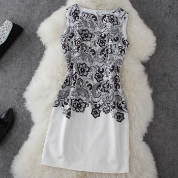 Black Printed Sleeveless Dress